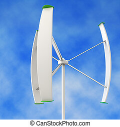residential wind turbine in a blue sky background
