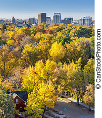 Residentual home in the fall with the City