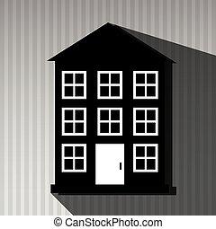 Residenziale, disegno, icona