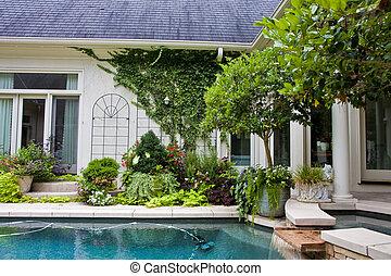 residenziale, stagno, e, fontana
