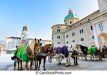Residenzplatz in Salzburg, Austria - Residenzplatz with the...