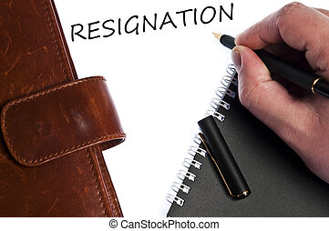 Resignation message - Resignation write by male hand
