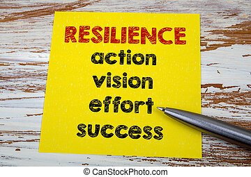 RESILIENCE. Action, vision, effort and success. Business concept background