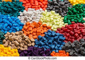 resinas, teñido, granulate, plástico
