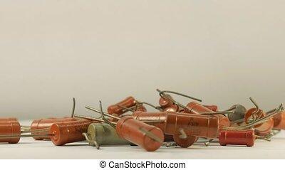 Resistance Resistors up close, electronic parts. - Resistors...