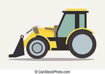 resistente, escavadora, equipamento, carregador, construção