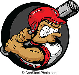 resistente, jogador basebol, com, capacete, beisebol segurando, morcego