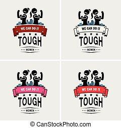 resistente, meninas, mulheres, logotipo, forte, ou, design.
