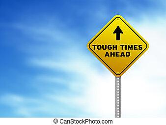 resistente, vezes, à frente, sinal estrada
