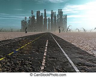 resistido, camino, plomos, en, abandonado, ciudad
