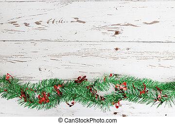 resistido, decoração, madeira, fundo, christmas branco