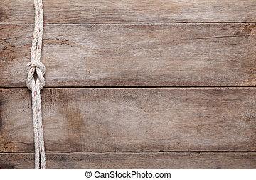 resistido, tabla de madera, plano de fondo, con, soga, arrecife, nudo, punta la vista