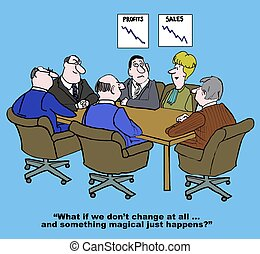Resisting Change - Cartoon of business meeting with woman...