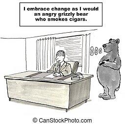 Resisting Change - Cartoon of businessman resisting change...