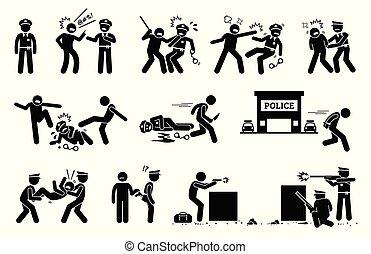 resistir, polícia, arrest., obstruir, luta, homem