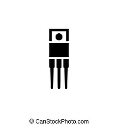 Resistor, Ceramic Electrolytic Capacitors, Fuse, Microcontroller, Transistor Flat Vector Icon