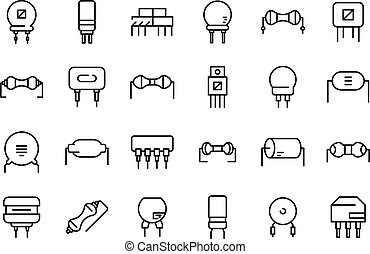 Resistor icons set. Outline set of resistor vector icons for web design isolated on white background