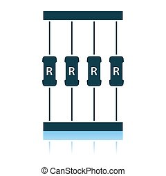 Resistor Tape Icon. Shadow Reflection Design. Vector Illustration.