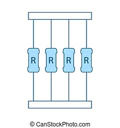 Resistor Tape Icon. Thin Line With Blue Fill Design. Vector Illustration.