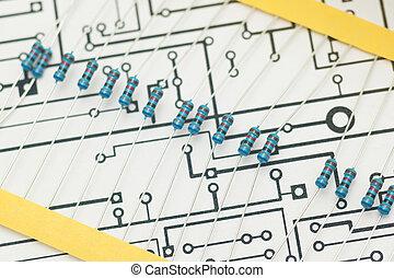 Resistors over electronic diagram