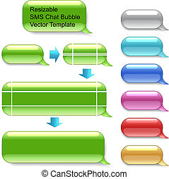 Resizable SMS chat vector template isolated on white background. Select appropriate anchor points by Direct selection tool and drag to dimensions you wish. Different color variants included.