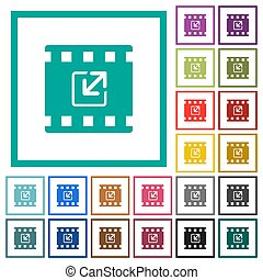 Resize movie flat color icons with quadrant frames on white...