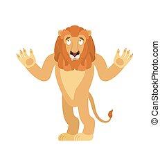 reso perplesso, emoji., confuso, illustrazione, bestia, leone, vettore, surprise., emotions., animale, selvatico