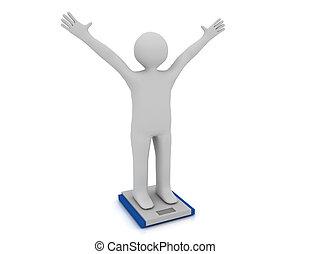 reso, peso, persone, illustrazione, ideale, bianco, scale.
