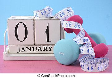 resolutie, nieuw, fitness, jaar