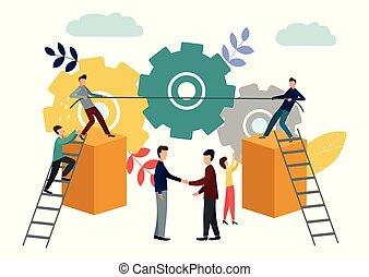resolution., símbolo, vector, conflicto, competición, conflicto, mechanism., ilustración, trabajando, corporativo, tira y afloja