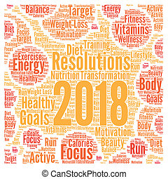 Resolutions 2018 health word cloud