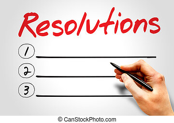 RESOLUTIONS blank list, business concept
