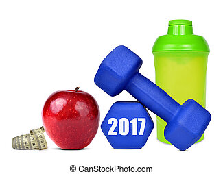 Resolutions for the New Year 2017 - Red apple, dumbbells and...