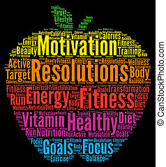 Resolutions health fitness word cloud