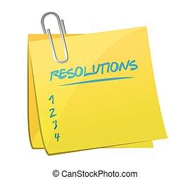 resolutions list memo post illustration design over a white background