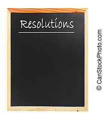 Resolutions list on a chalkboard