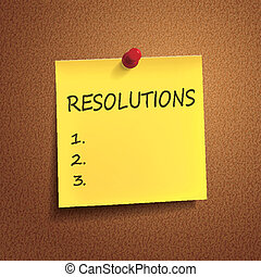 resolutions words on post-it over brown background