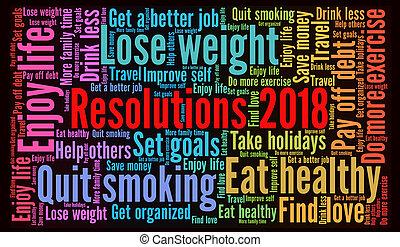 resolutions, wort, 2018, wolke