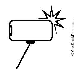 resolved, symbole, appareil photo, prendre garde, bâtons., mobile, icon., smartphone, allowed., photographie, selfie, signe., vecteur, téléphone., crosse, monobreed, photo
