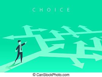 resolvendo, conceito, success., negócio, mostrando, maneira, escolher, homem negócios, problema, direction.