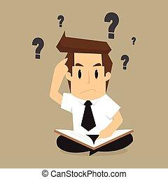 resolvendo, informação, livros, homem negócios, problema, ...