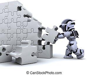 resolvendo, quebra-cabeça, jigsaw, robô