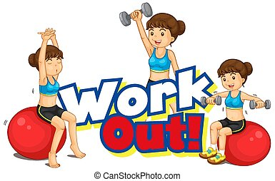 resolver, fuente, yoga, palabra, diseño, niña
