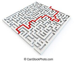 resolvido, quebra-cabeça, labirinto