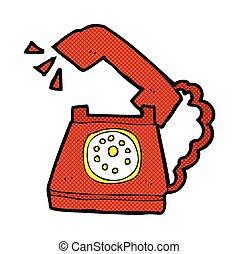 resonante, cómico, teléfono, caricatura