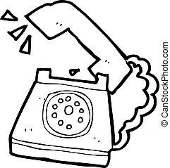 resonante, teléfono, caricatura