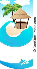 Resort background - Tropical sandy island with palm trees...