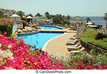 resort hotel with pool on Red Sea beach in Sharm el Sheikh, Egyp