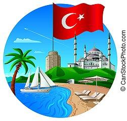 resort in turkey - concept illustration of travel and resort...