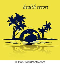 Resort island by the sea, sunset, jumping dolphins, silhouette on a yellow background,